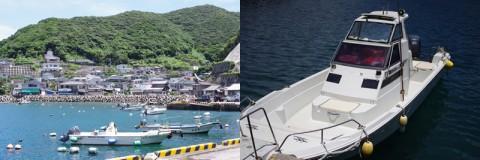 坊津の港からアジロ浜まで船で渡してくれる